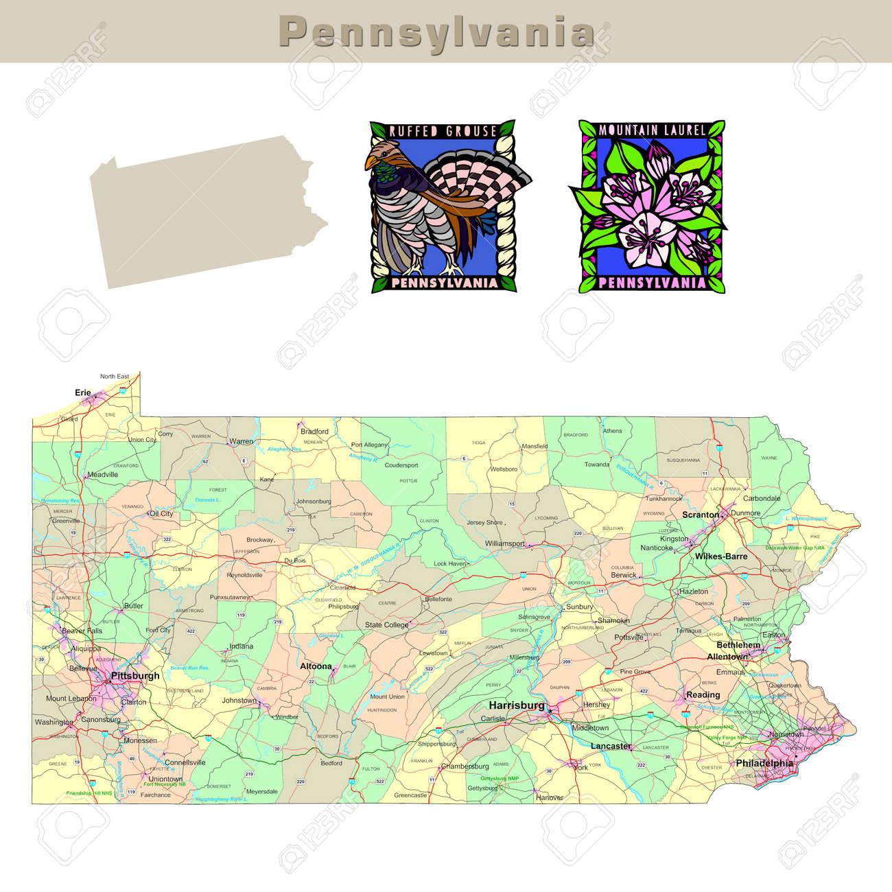 USA States Series Pennsylvania Political Map With Counties - Usa map with counties