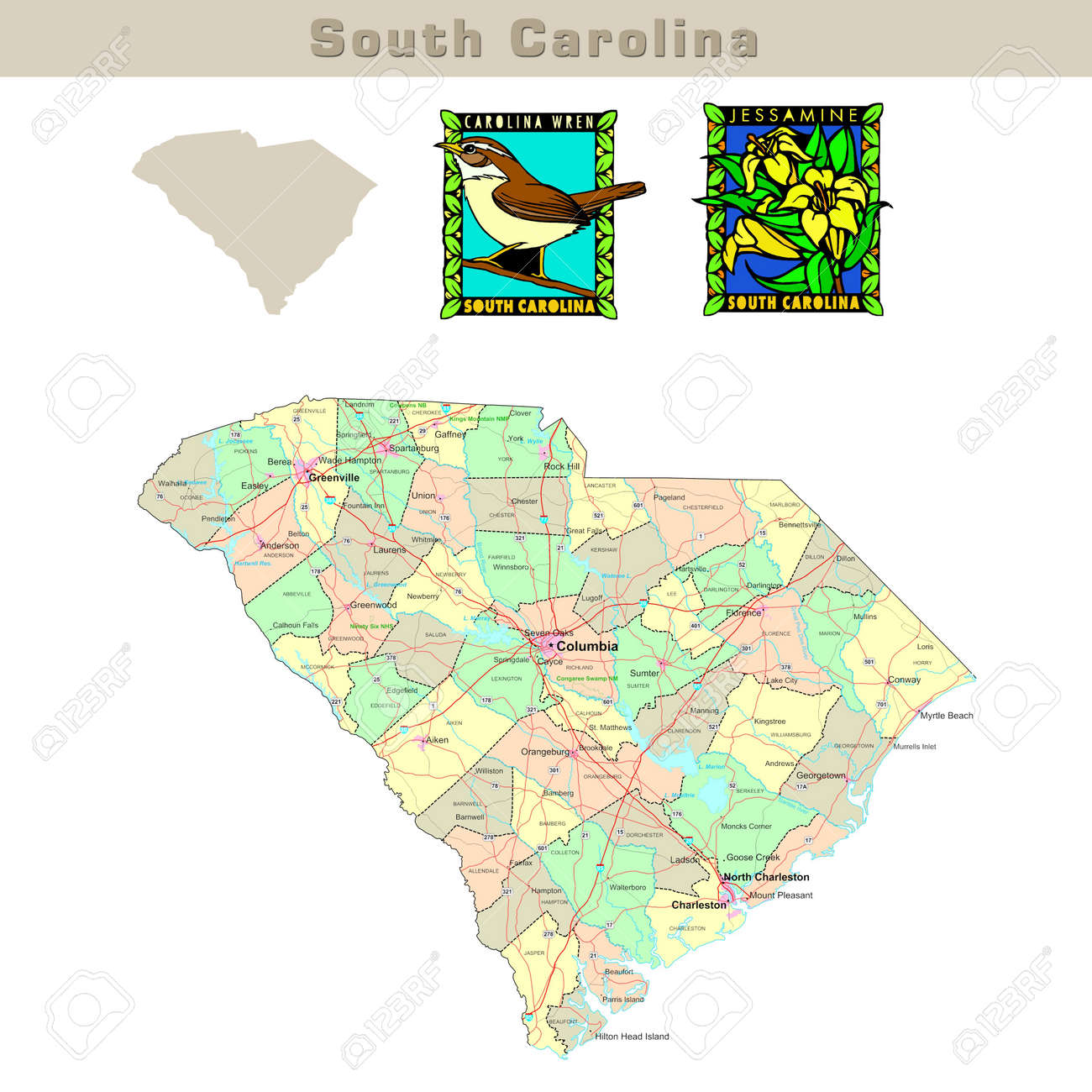 Usa States Series South Carolina Political Map With Counties