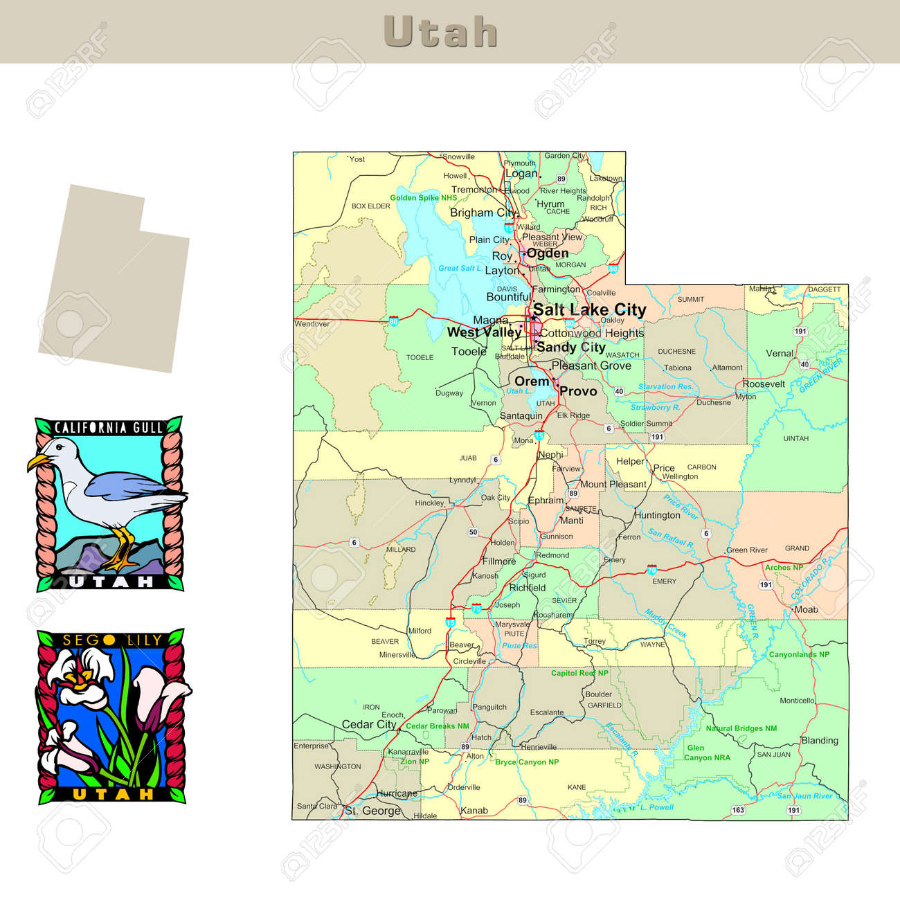 USA States Series Utah Political Map With Counties Roads - Map usa utah