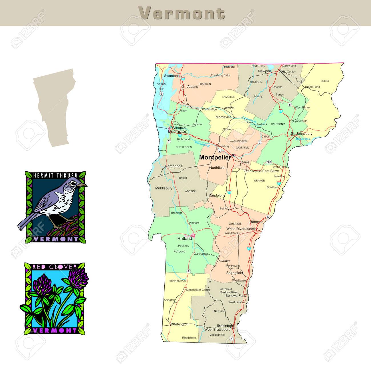 USA States Series Vermont Political Map With Counties Roads - Vermont in usa map
