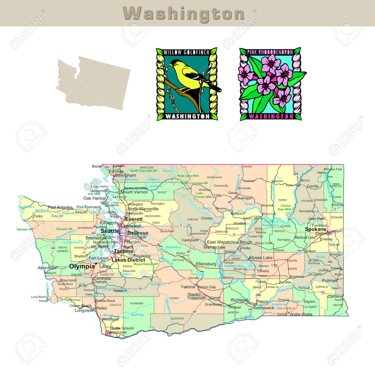 USA states series: Washington. Political map with counties, roads,..
