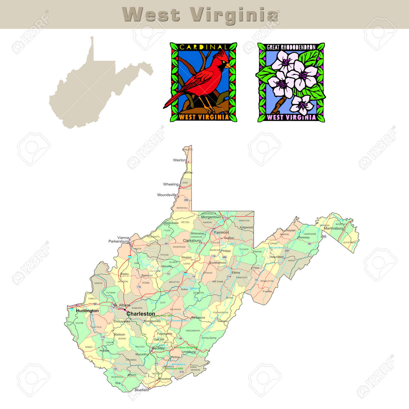 USA States Series West Virginia Political Map With Counties - Virginia usa map