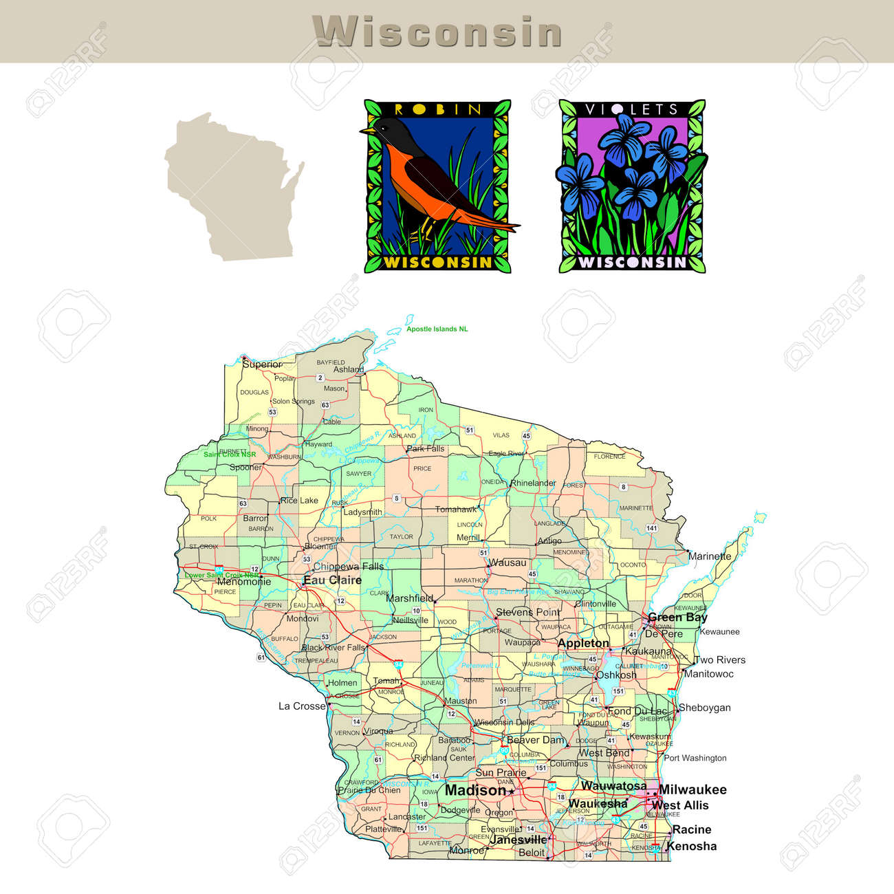 Usa States Series Wisconsin Political Map With Counties Roads