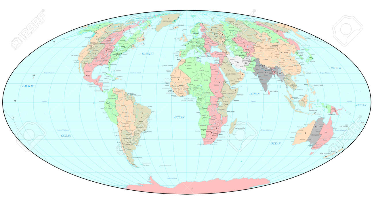 Political World Map With Time Zones Stock Photo Picture And - Political world map