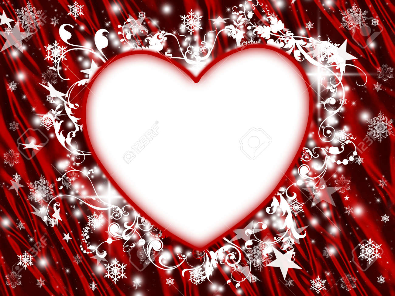 stock photo winter holiday floral heart frame