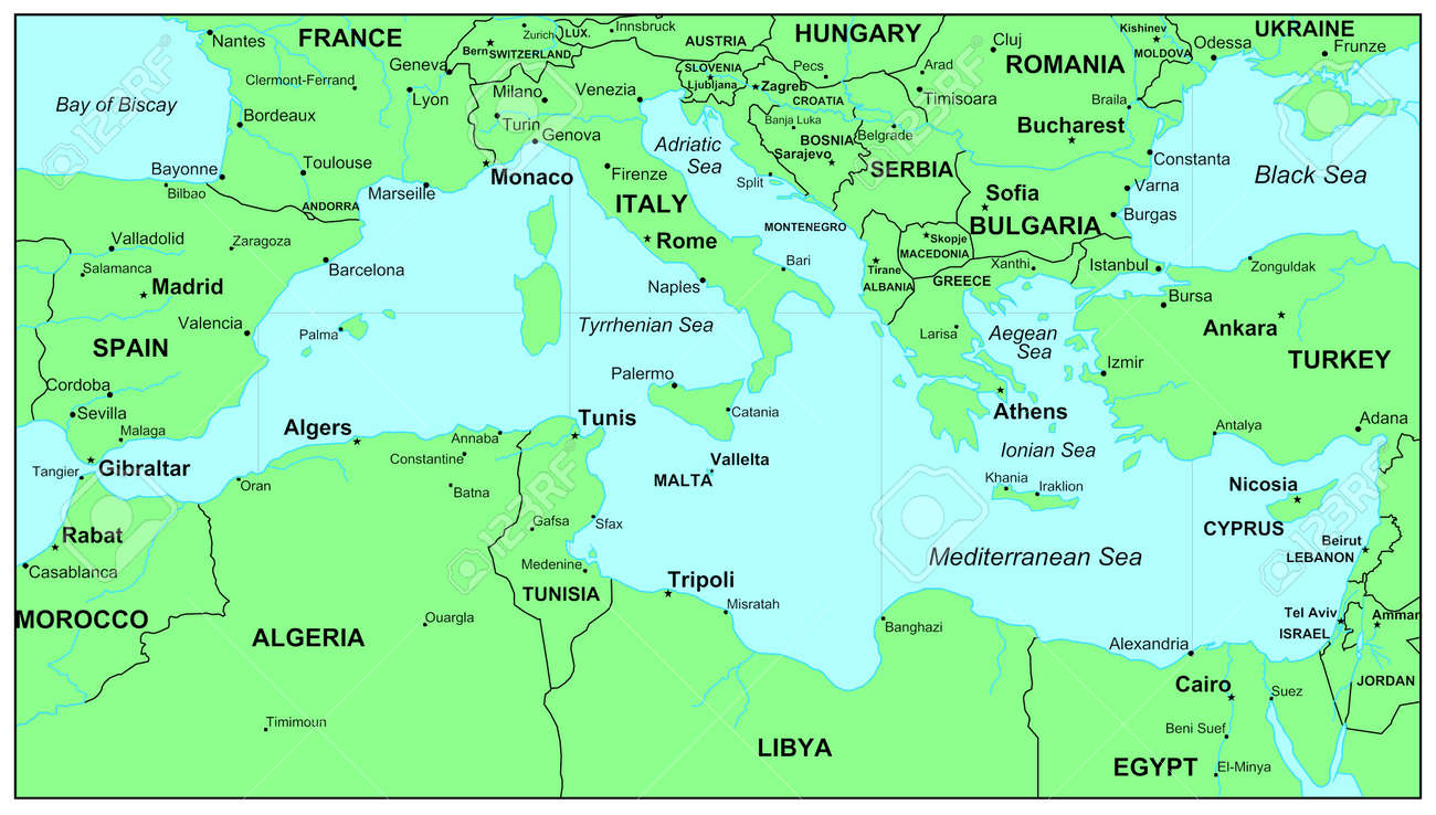 Sea Maps Series: Mediterranean Sea Stock Photo, Picture And Royalty ...
