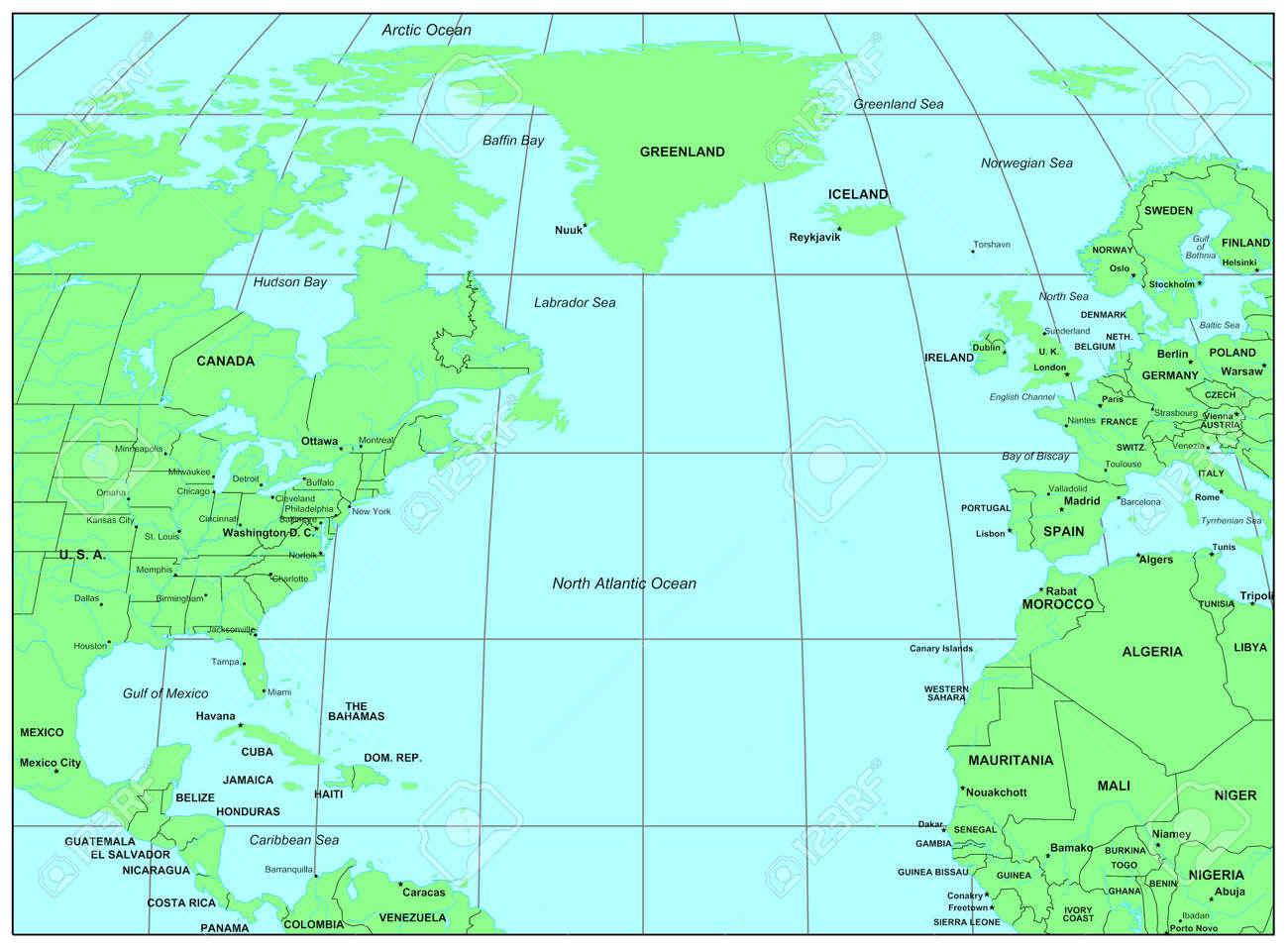 Sea Maps Series North Atlantic Ocean Stock Photo Picture And - Ocean sea map