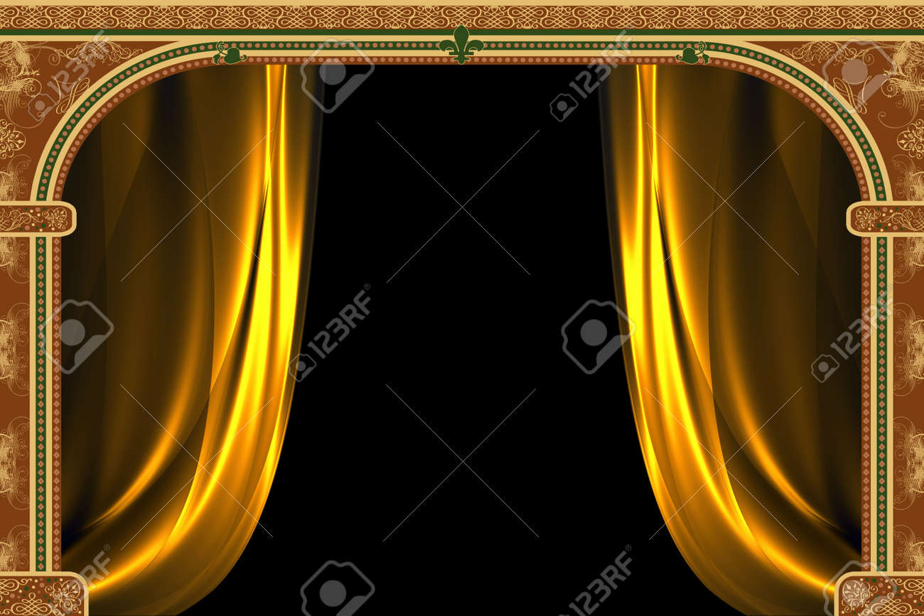Arch with ornaments and curtain Stock Photo - 1954264