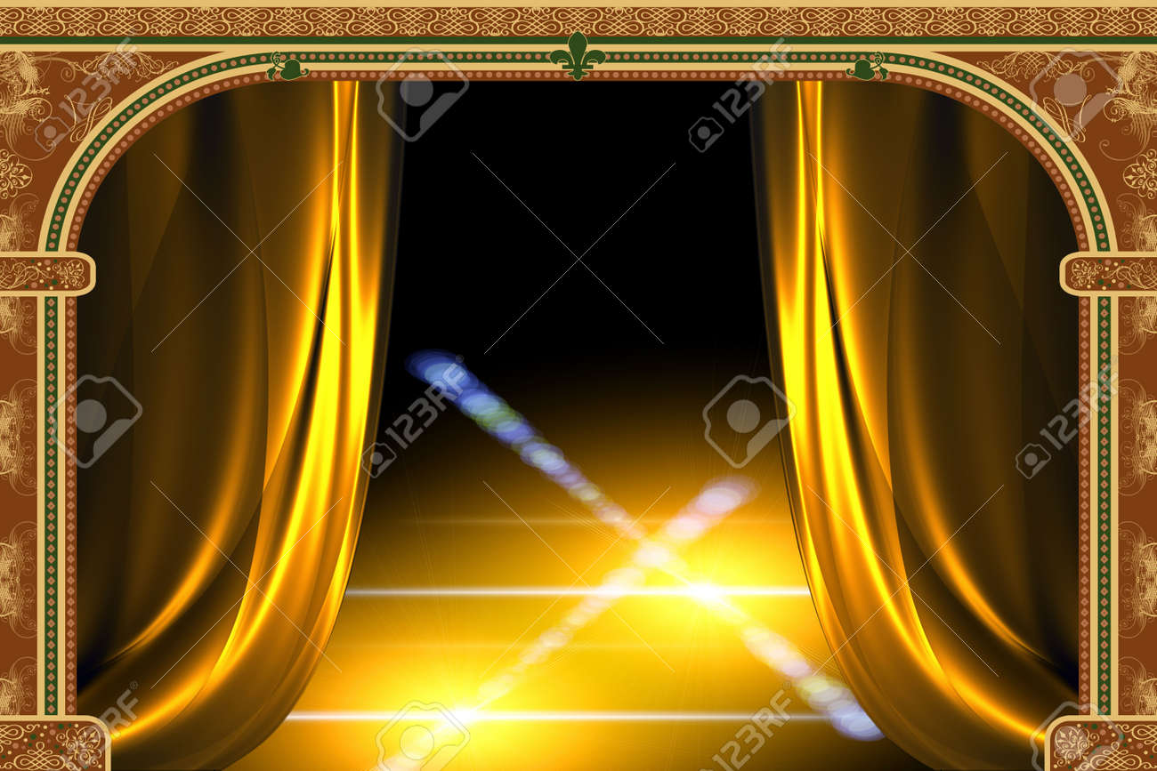 Arch with ornaments, curtain and lights Stock Photo - 1954281