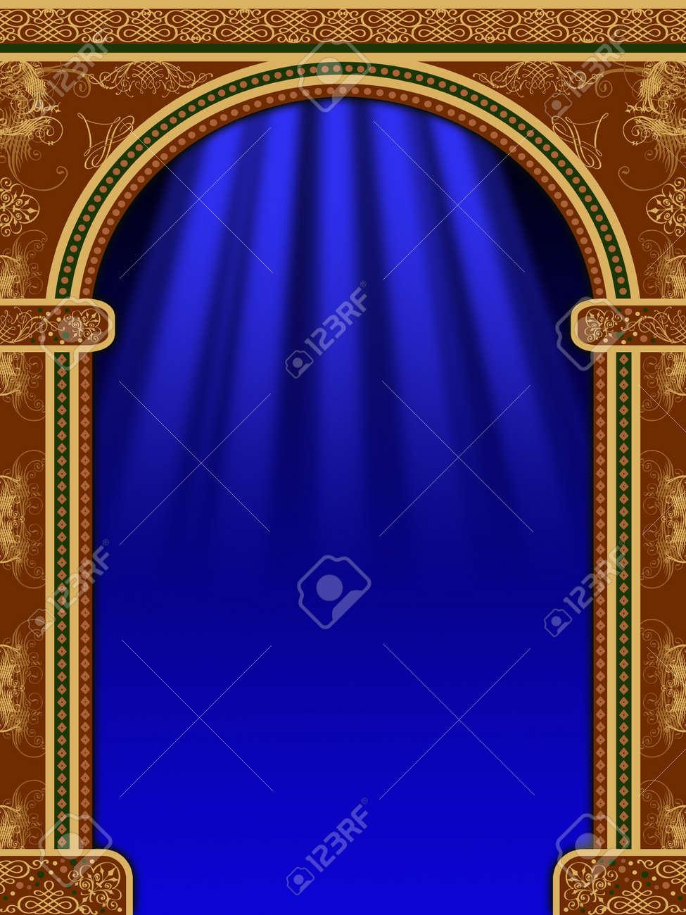 arch con adornos cortinas y luces foto de archivo