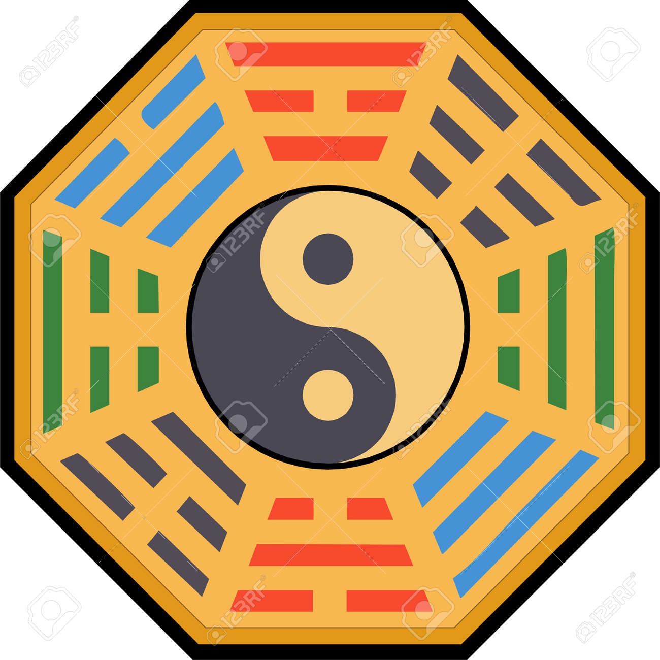 Vector Yin Yang and bagua illustration Stock Vector - 3099314