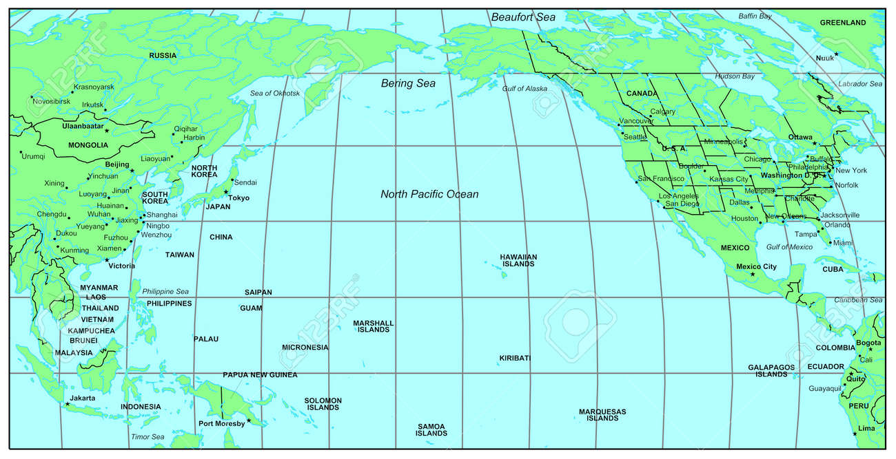 Sea Maps Series North Pacific Ocean Stock Photo Picture And Royalty Free Image Image 121054364