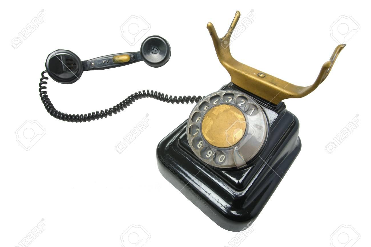 antique original grunge vintage Phone on white Stock Photo - 6835440