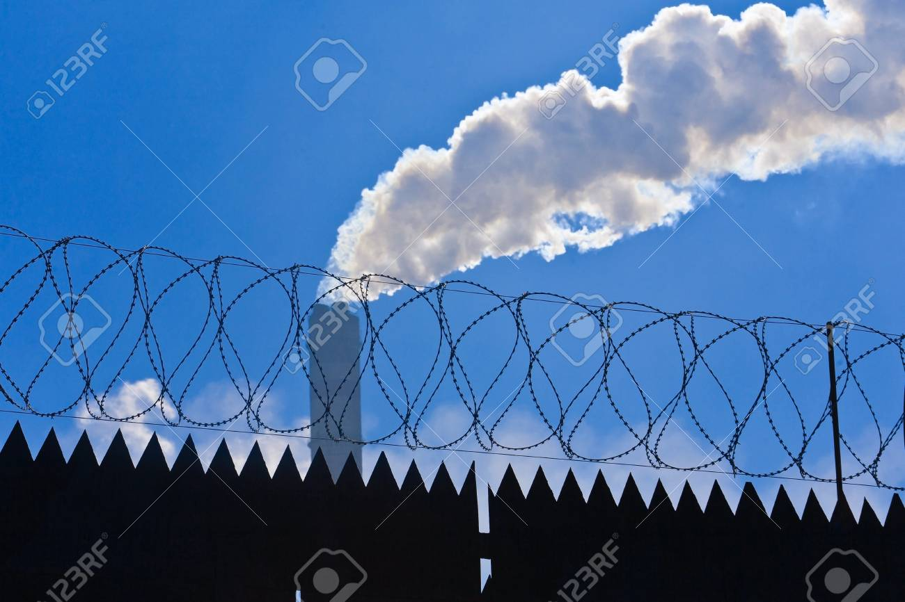 Original barbed and smoke industrial background. Stock Photo - 9445104