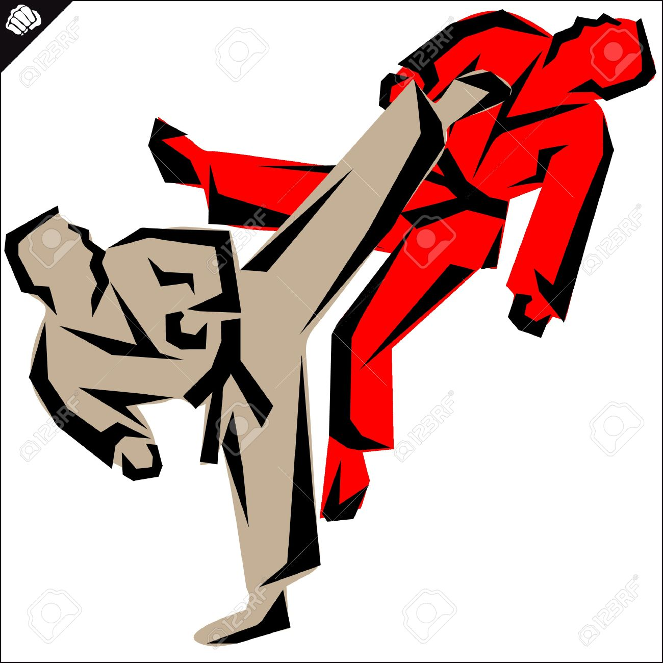 Fight Fightersrtial Arts Colored Emblem Symbol Karate Style