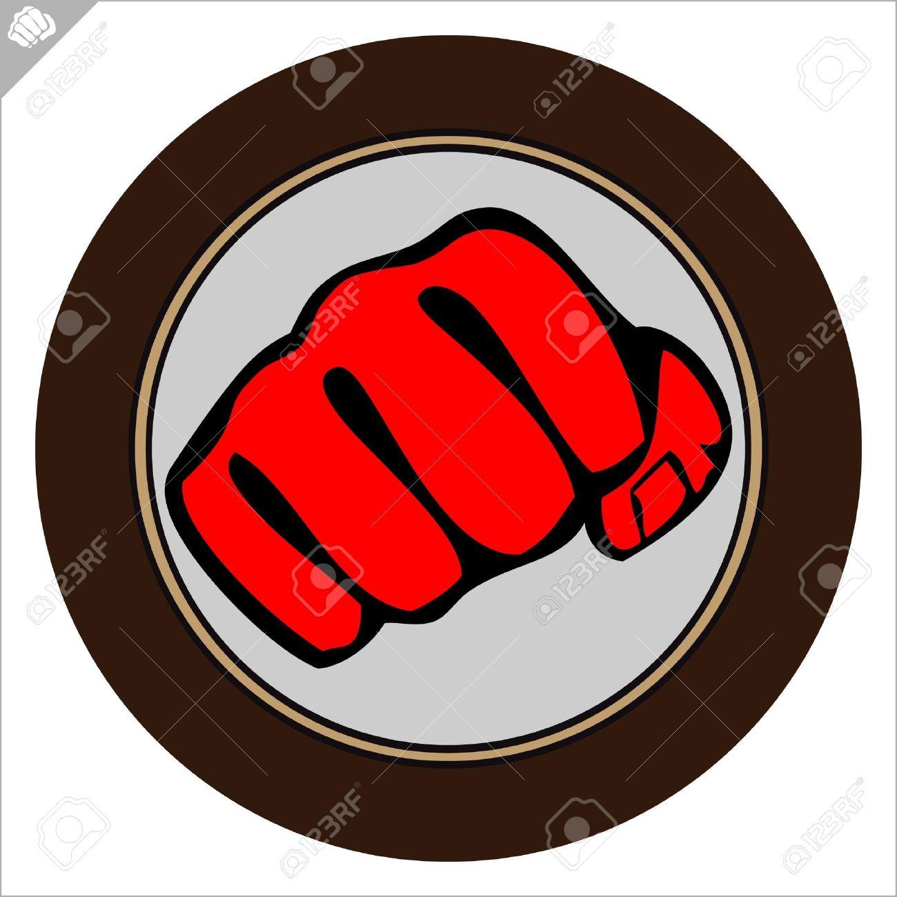 Fist  poster. martial arts colored emblem, simbol. Stock Vector - 11932230