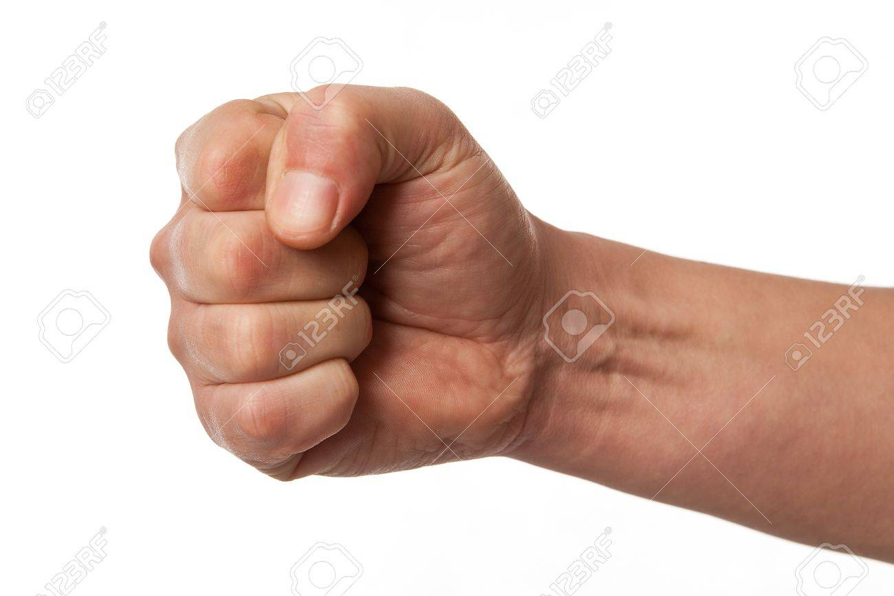 12885087-Power-fist-on-white-background-hand-gesture-sign-on-white-Stock-Photo