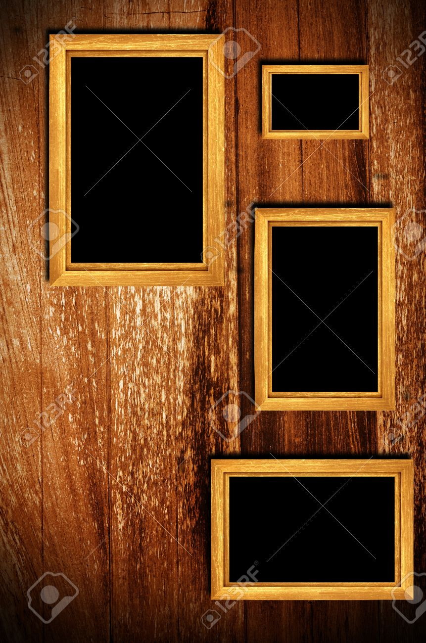 Vintage Wooden Frames On Wood Background Stock Photo, Picture And ...