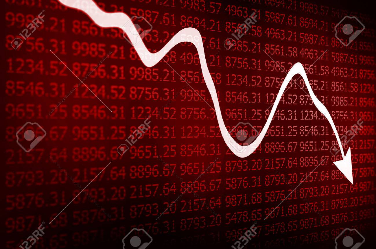 Stock illustration 3d red text quot yes quot stock illustration royalty - Share Market Stock Market Arrow Graph Going Down On Red Display