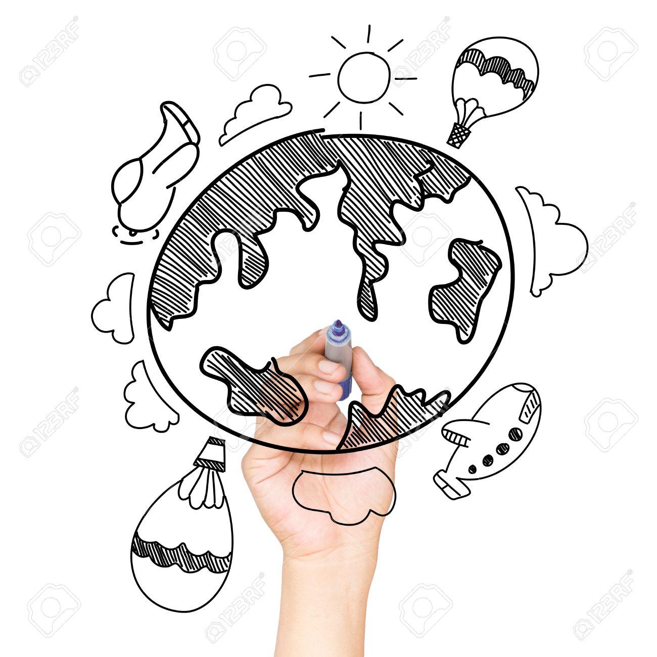 Drawing Travel Around The World Stock Photo