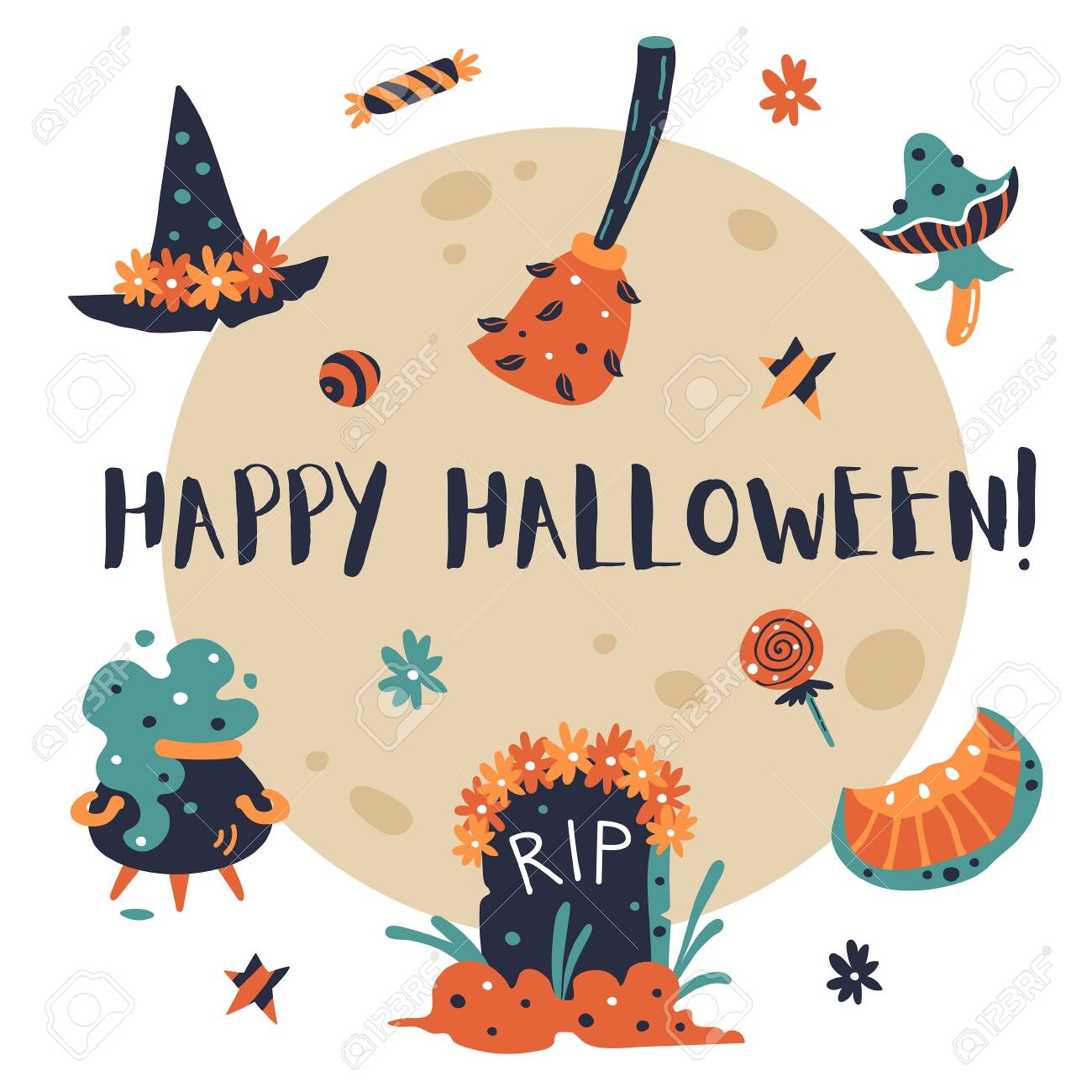Happy Halloween Design Elements. Halloween Clipart With Witch.. Royalty  Free Cliparts, Vectors, And Stock Illustration. Image 134584145.