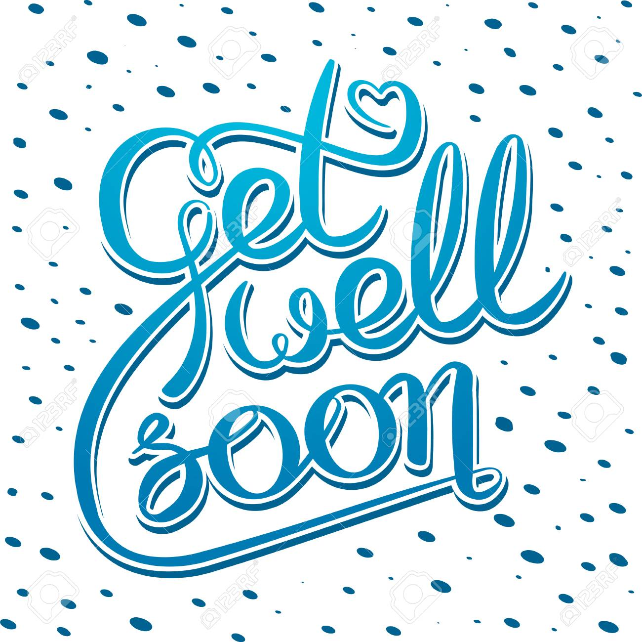 decorative poster with handwritten inscription get well soon