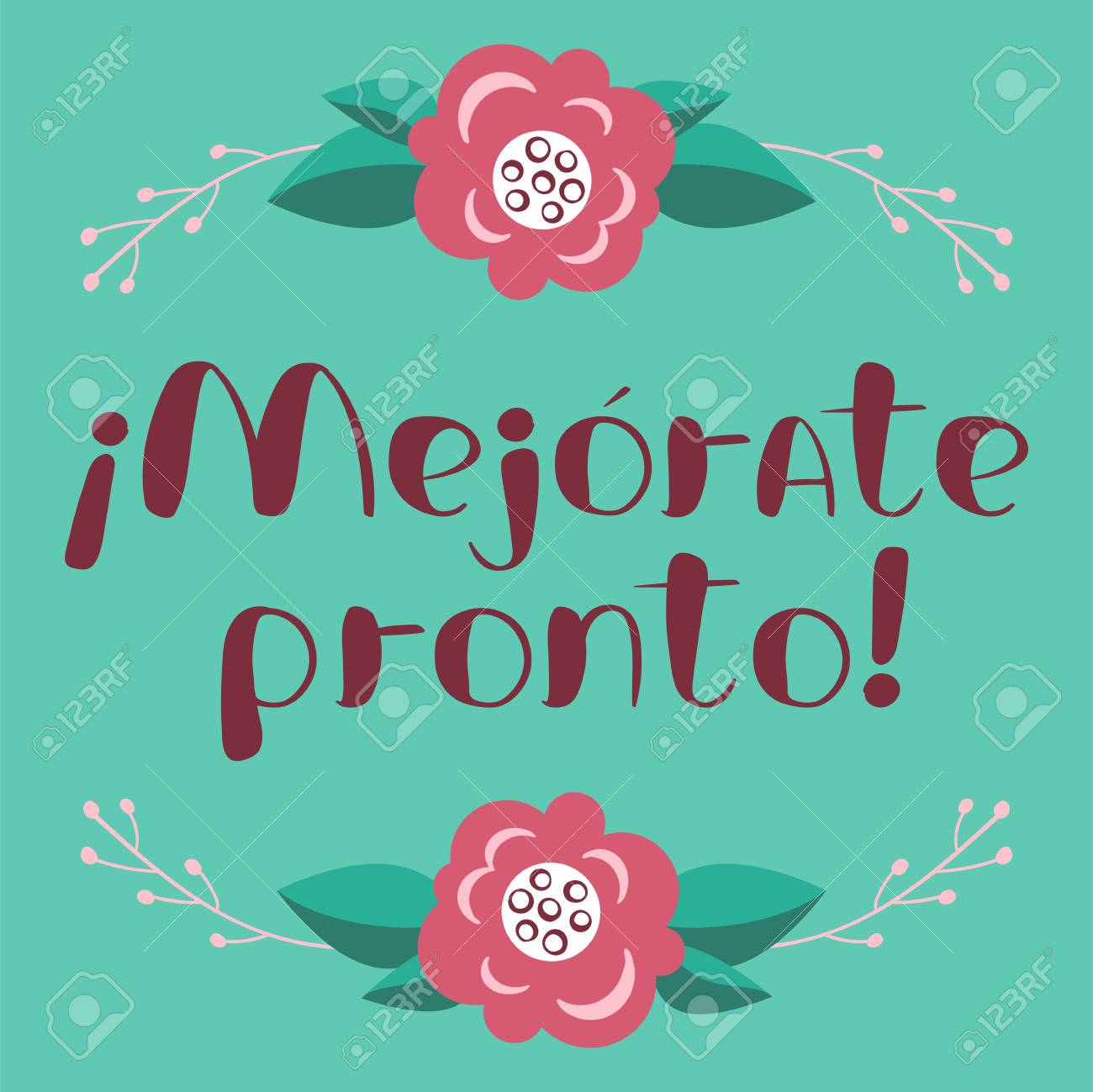 mejorate pronto card with hand drawn lettering get well soon