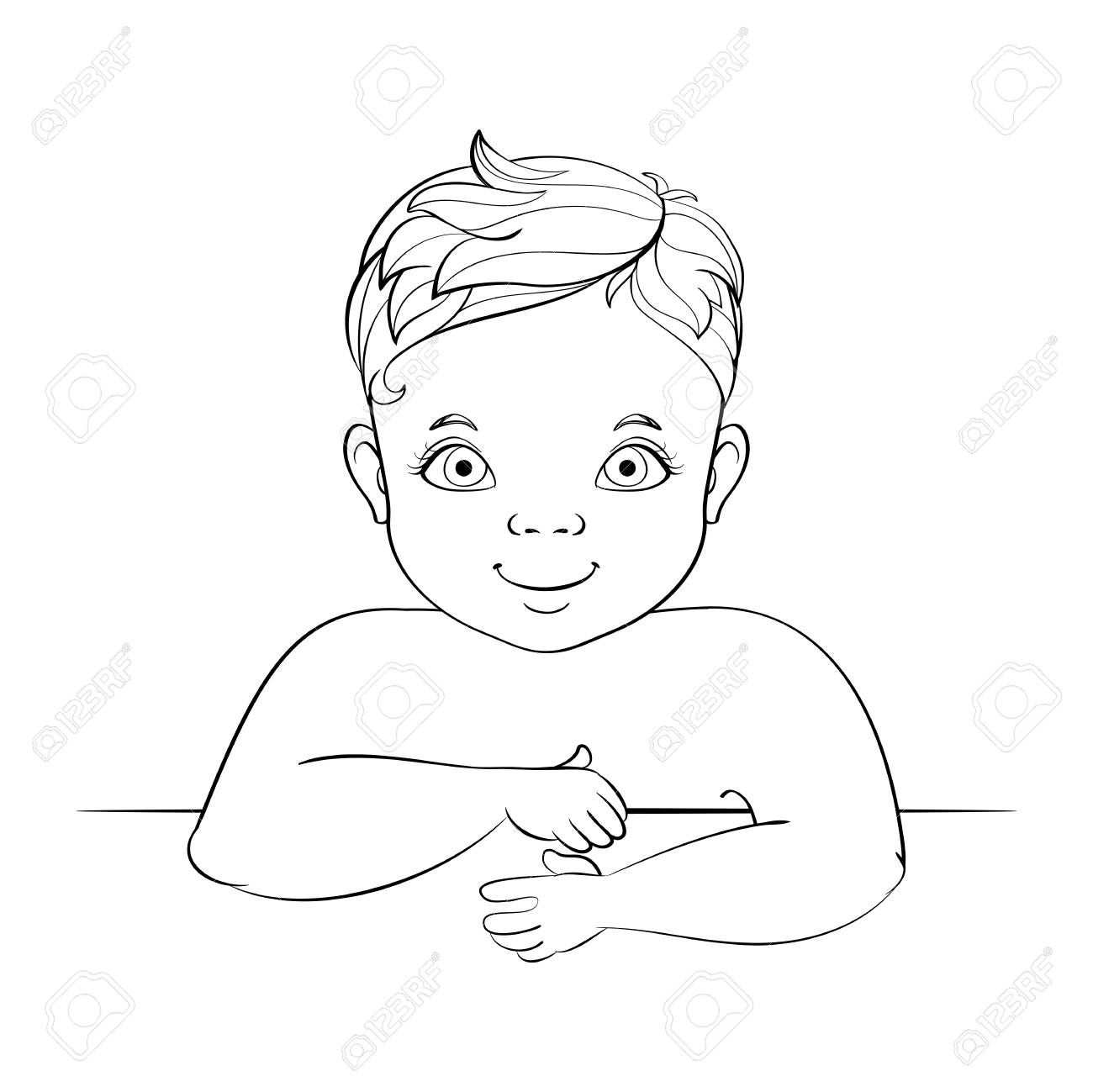 Smiling caucasian baby boy sketch stock vector 96172691