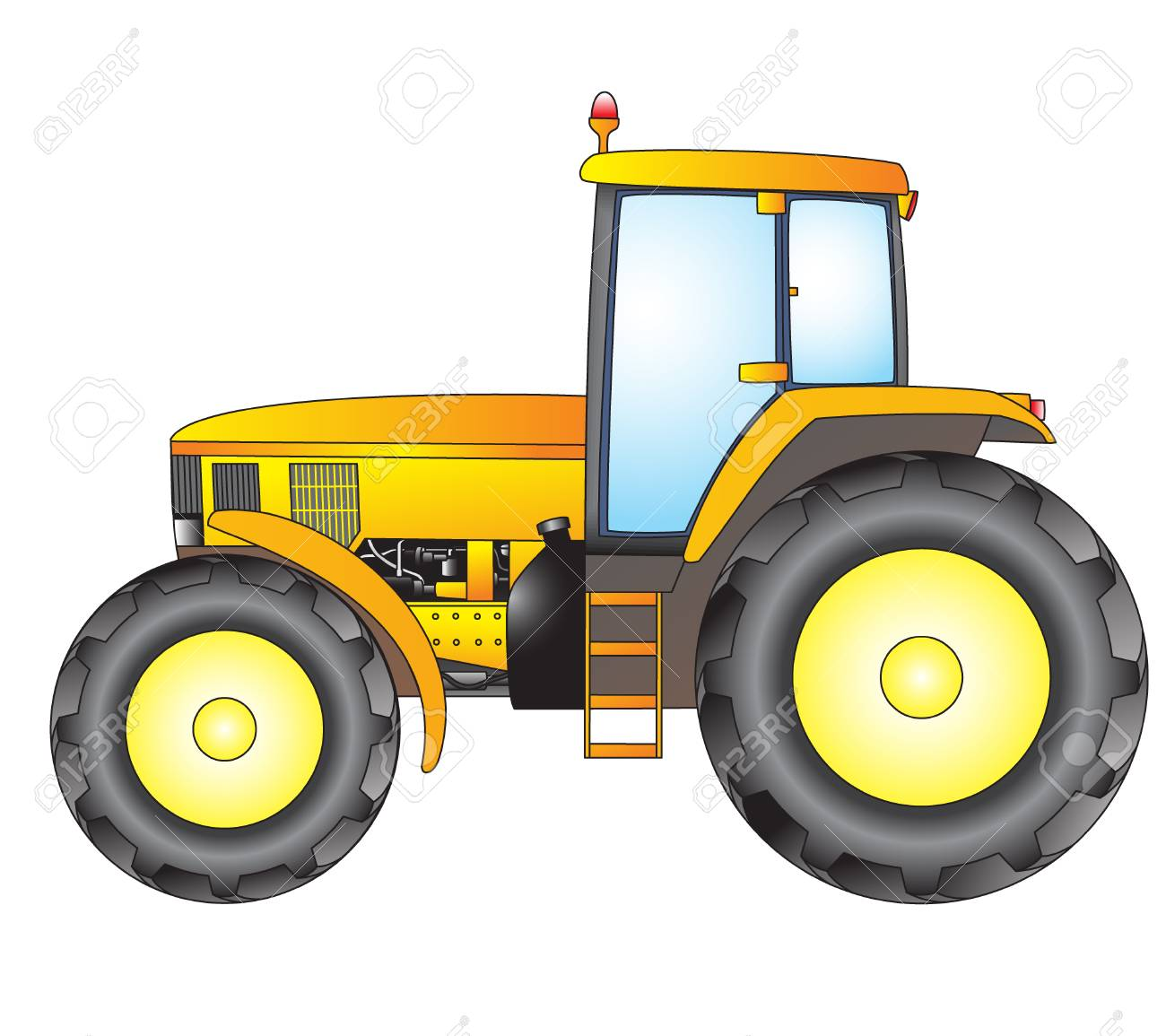 Tractor Object Isolated On White Background Vector Print Royalty
