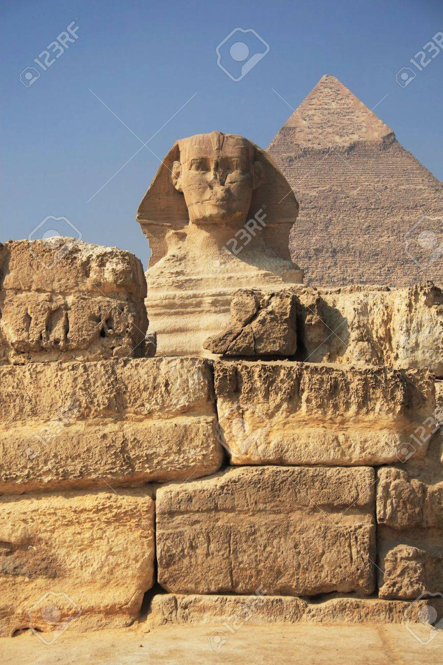 The Great Egyptian Sphinx Of Giza With Ancient Pyramids On The