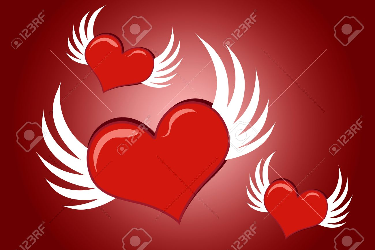 Lovely cartoon Valentine hearts with wings flying Stock Photo - 2776528