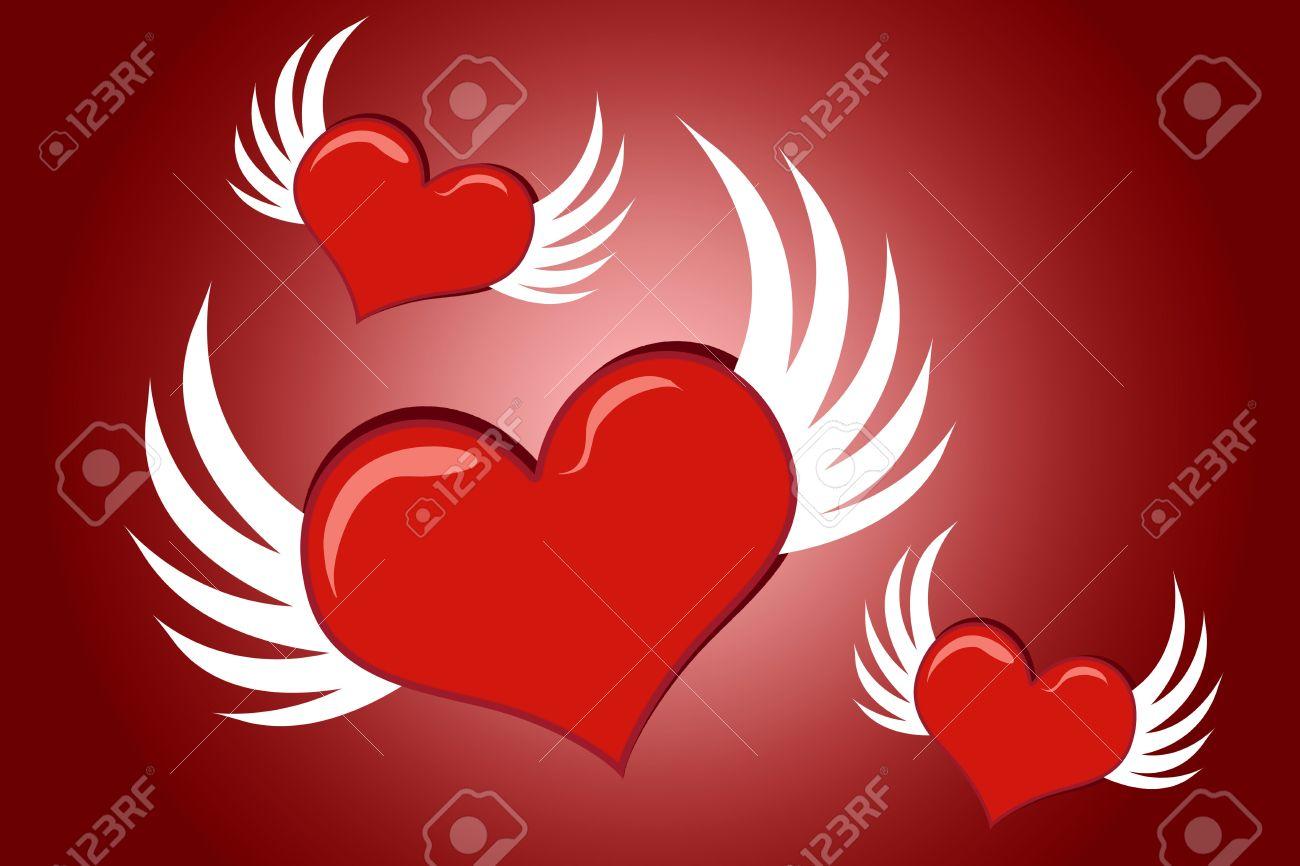Lovely Dibujos Animados De San Valentín Corazones Con Alas De Vuelo
