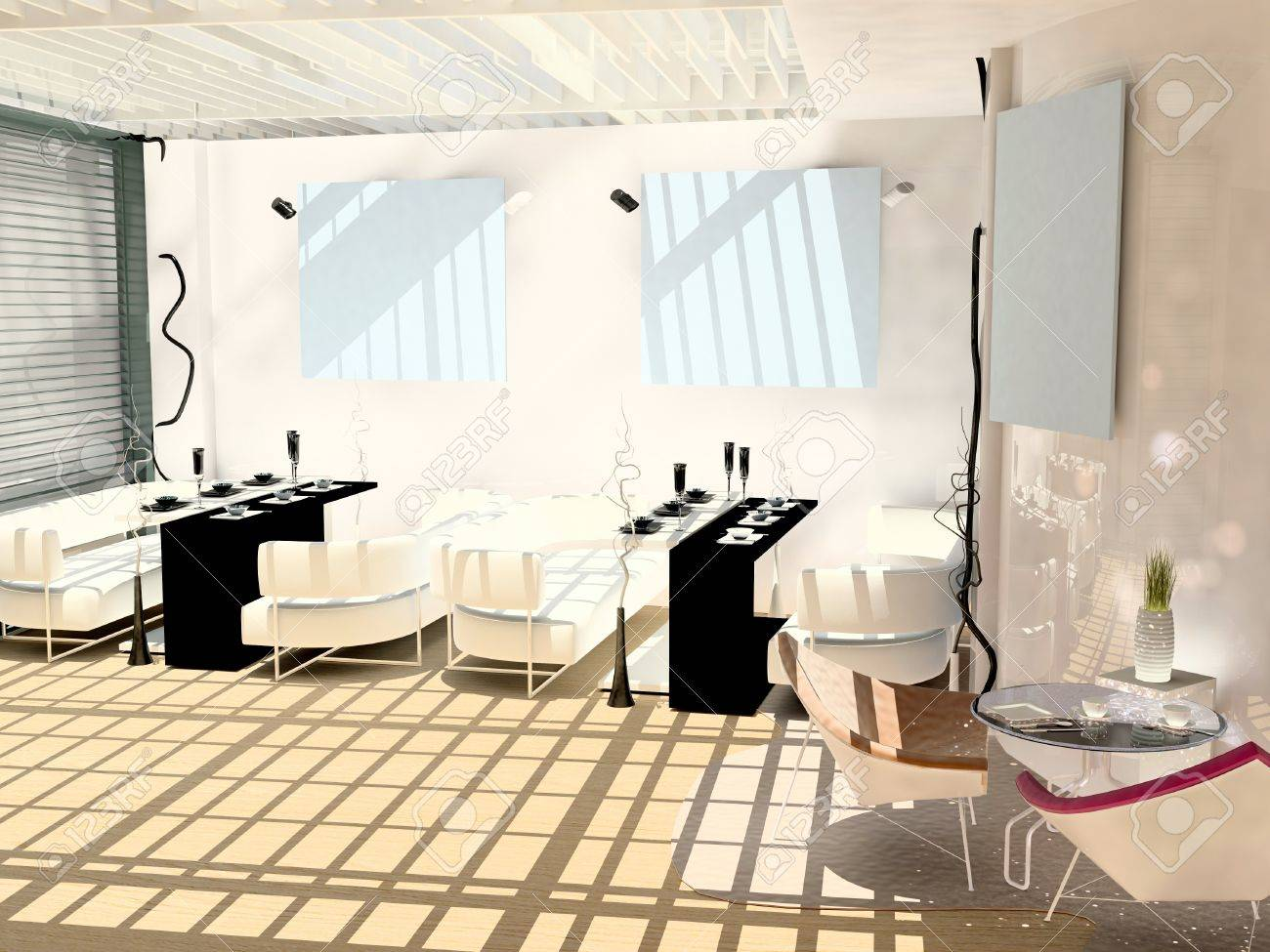 Cafe in a modern style with black and white chairs and paintings on the walls Stock Photo - 15233036
