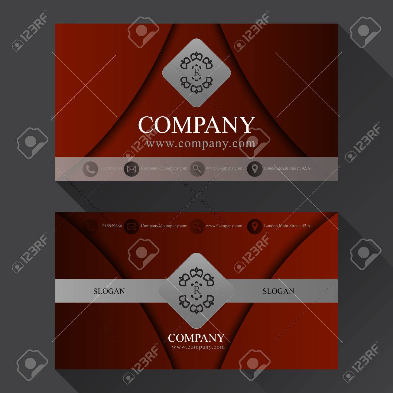 Red luxury business card with shadow two sides template vector banco de imagens red luxury business card with shadow two sides template vector reheart Images