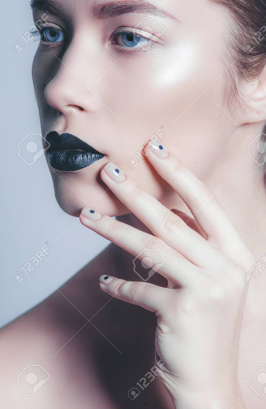 Beauty Fashion Model Girl With Black Make Up Fashion Trendy Stock