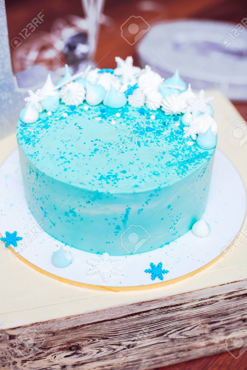 Super Blue Birthday Cake With Small Meringues And White Snowflakes Stock Personalised Birthday Cards Arneslily Jamesorg