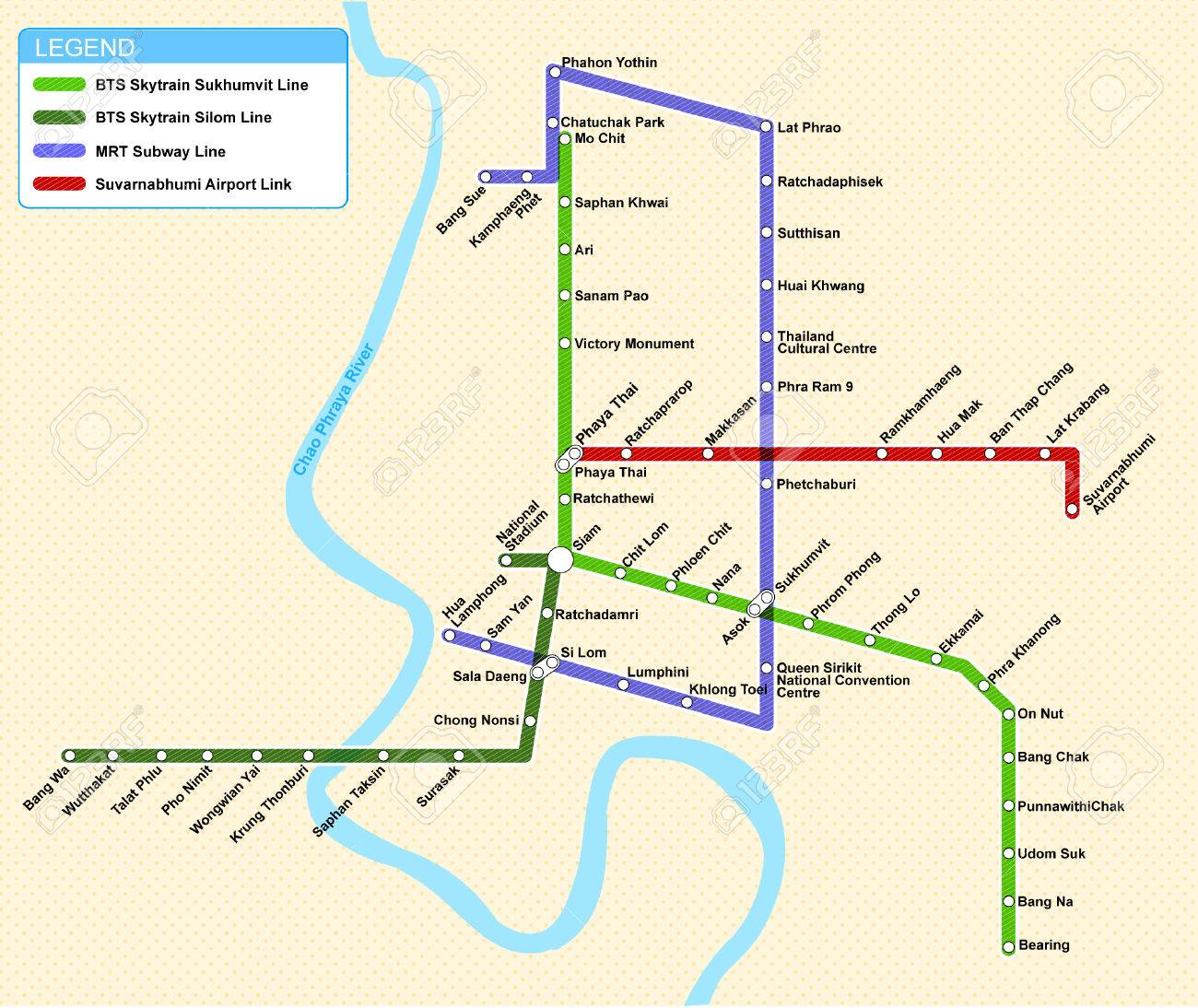 Bangkok Transportation Map Royalty Free Cliparts Vectors And Stock