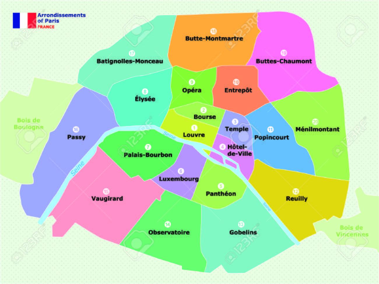 Map Of Paris Arrondissements Royalty Free Cliparts Vectors And