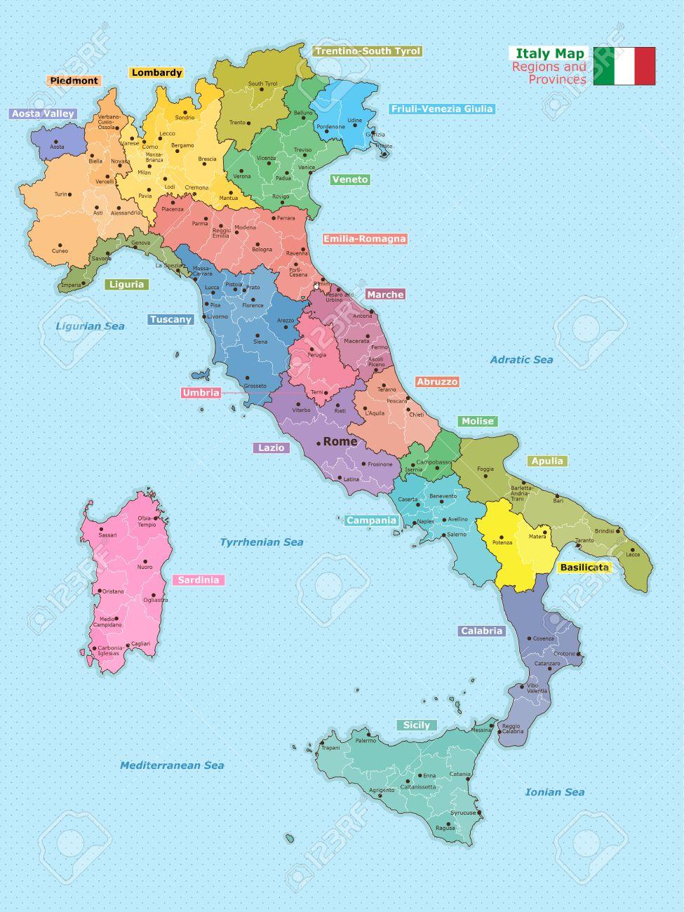 Carte Italie Regions.Carte De L Italie Avec Les Regions Et Les Provinces