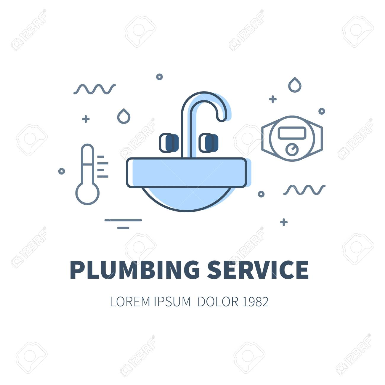 Plumbing Service Concept Design Illustration And Logo Of Sink ...