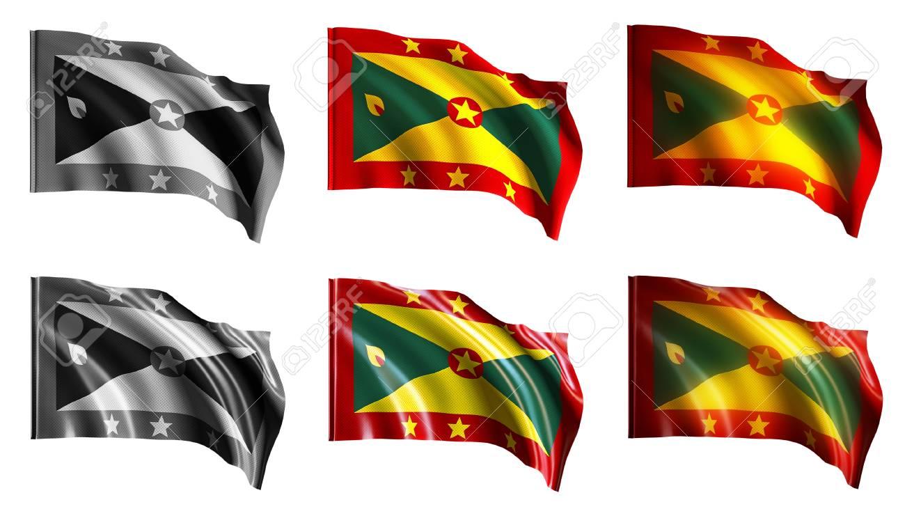 Grenada flags waving set front view