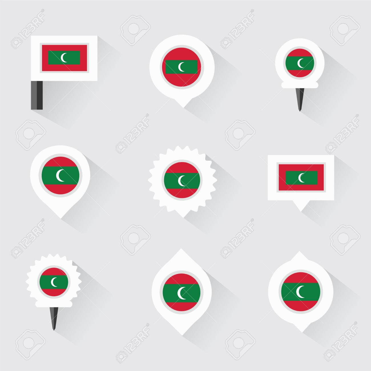 Maldives Flag And Pins For Infographic, And Map Design Royalty Free ...