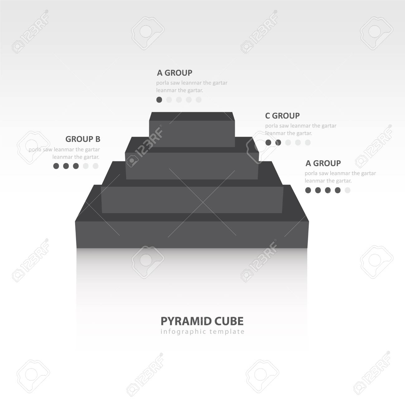 Business Infographics Pyramid Cube Black Color Balance Royalty Free ...