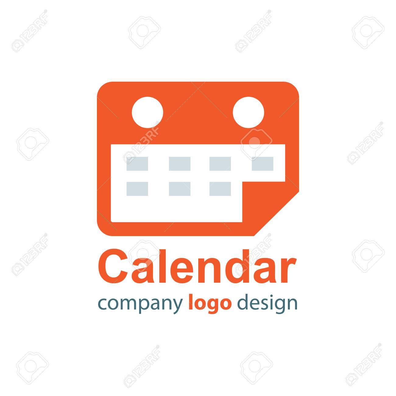 calendar logo orange style royalty free cliparts vectors and stock