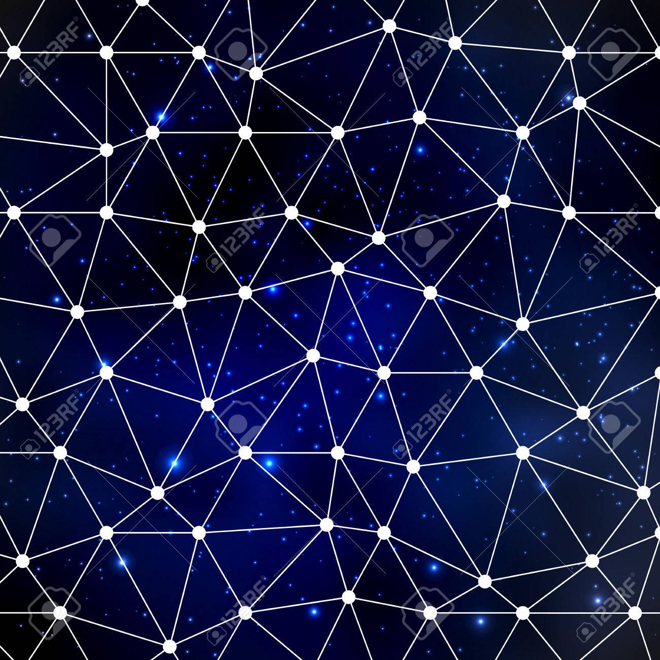 abstract cosmos background with stars and white triangle grid