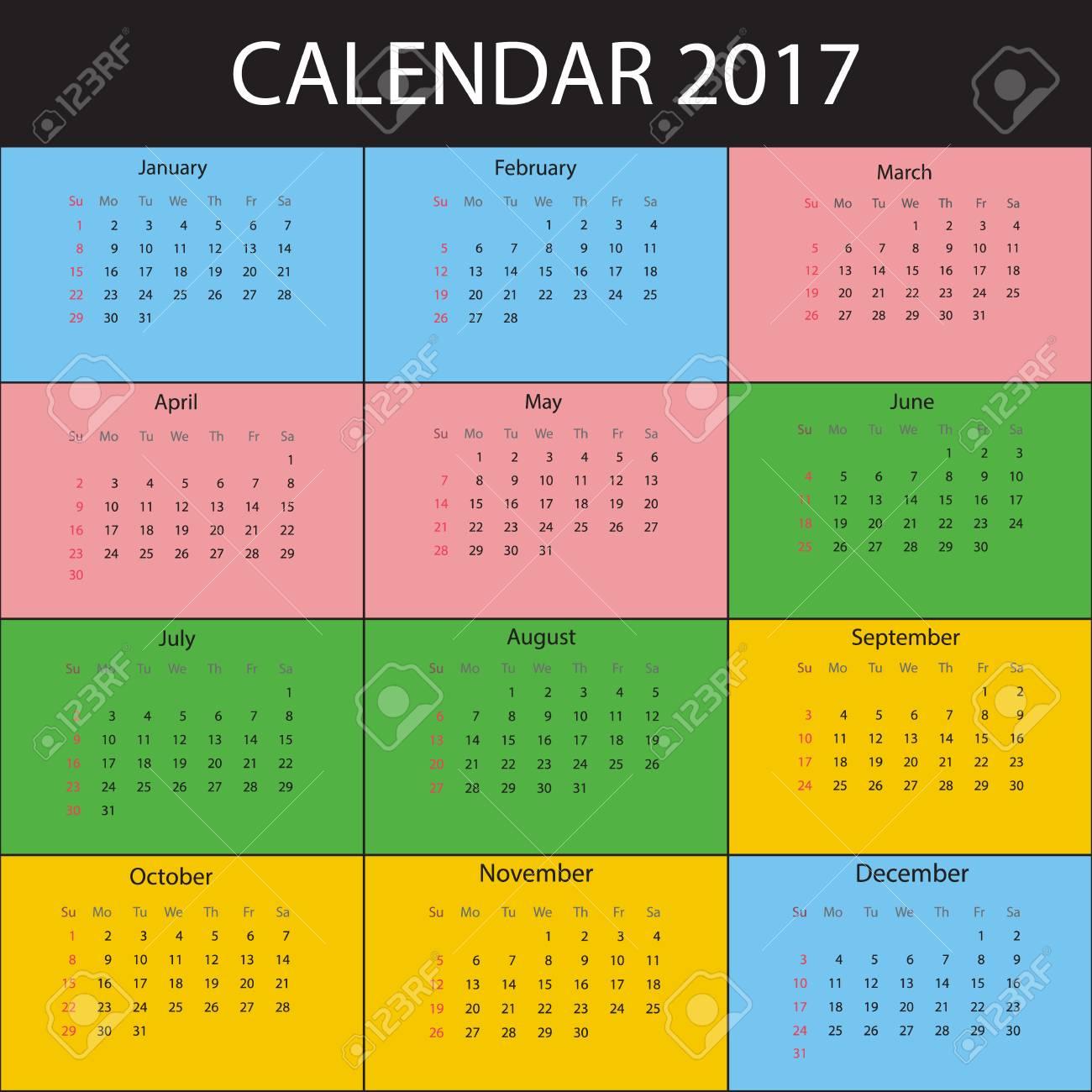 Calendario Anno 2017.Calendario Per L Anno 2017 La Settimana Inizia Domenica Modello Di Stampa Vettoriale