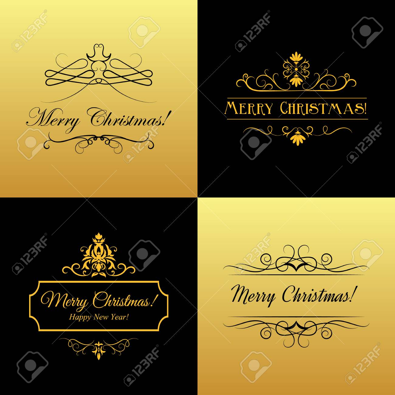 set of marry christmas and happy new year cards black and gold vector stock vector