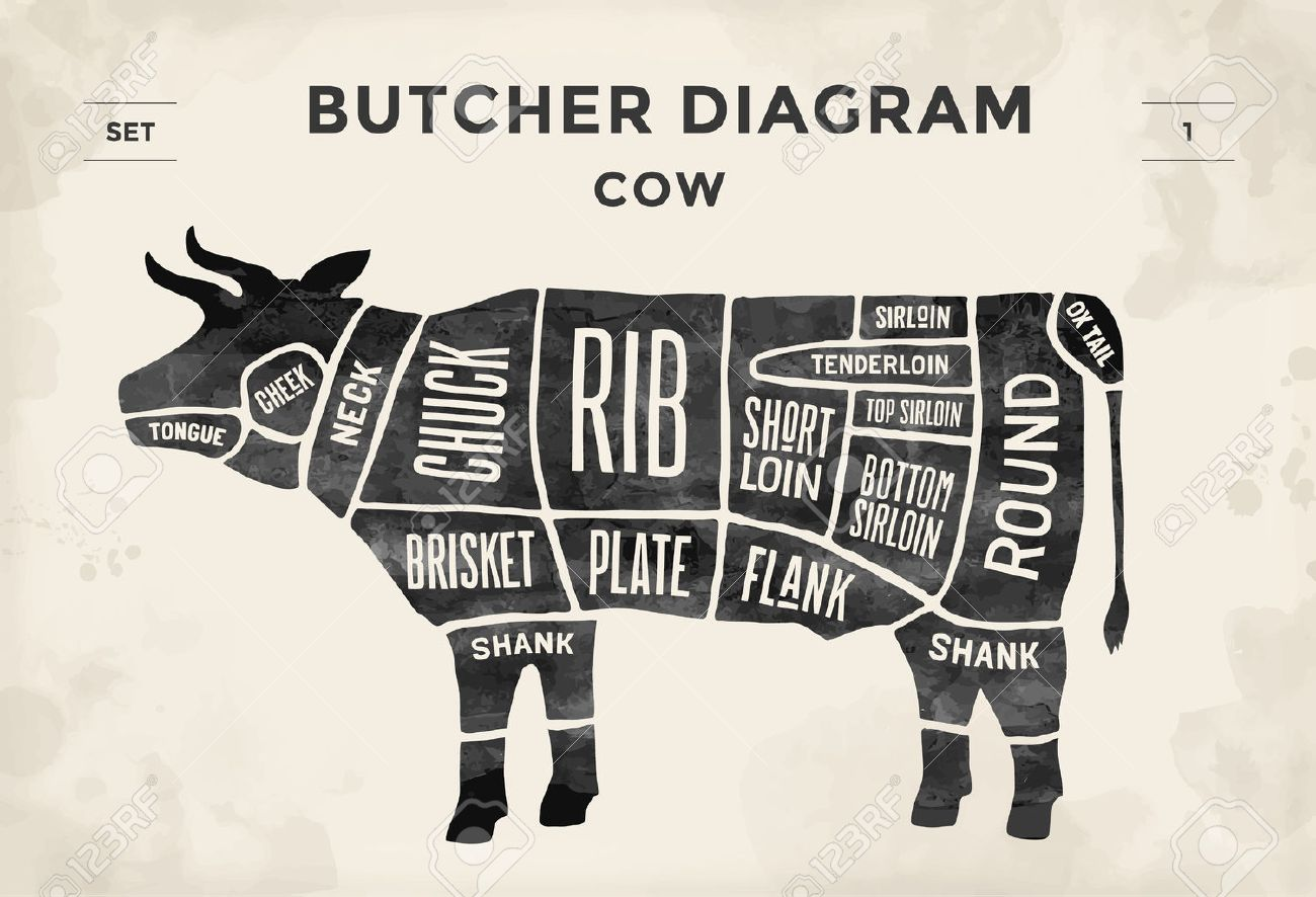 Cut Of Beef Set. Poster Butcher Diagram - Cow. Vintage Typographic ...
