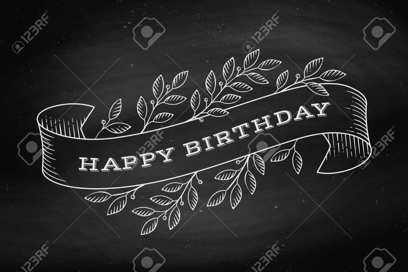 Greeting Card With Inscription Happy Birthday Old Vintage Ribbon Banners Leaves And Drawing In