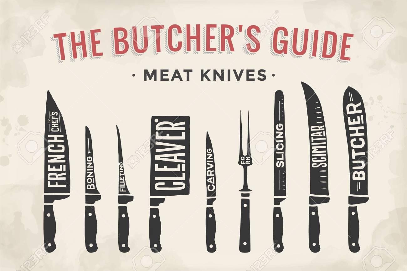 Couteaux De Découpe De Viande Fixés. Affiche Butcher Diagramme Et ...